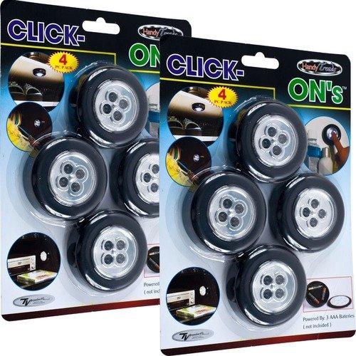 Trademark Global Super Bright Click-On Stick up LED Light (Set of 8)
