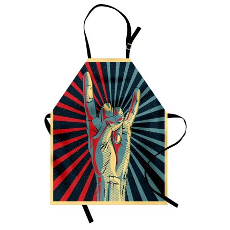 Music Apron Hand in Heavy Rocker Sign Musical Universal Gesturing Thunder Bolts Party People, Unisex Kitchen Bib Apron with Adjustable Neck for Cooking Baking Gardening, Multicolor, by Ambesonne for $<!---->