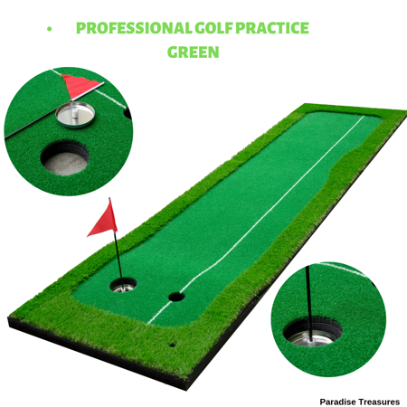 Golf Putting Green System Professional Practice Green Long Challenging Putter Indoor/Outdoor Golf Simulator Training Mat Aid Equipment great Gift for Dad(2.6ftx10ft 2 lane - Footgolf Equipment