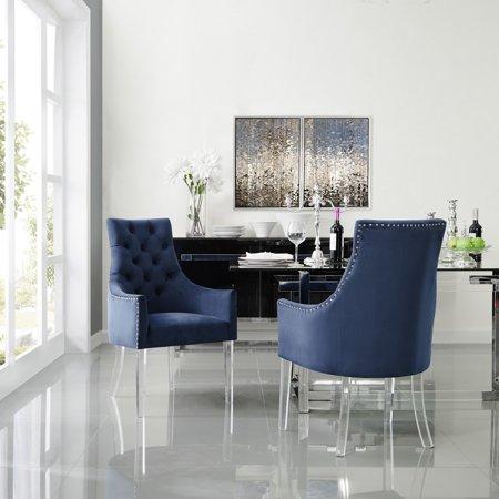 Inspired Home Valeria Velvet Upholstered Dining Arm Chair Set Of 2