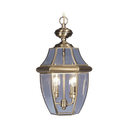 - Outdoor Pendants 2 Light With Solid Brass Clear Beveled Glass Antique Brass size 11 in 120 Watts - World of Crystal