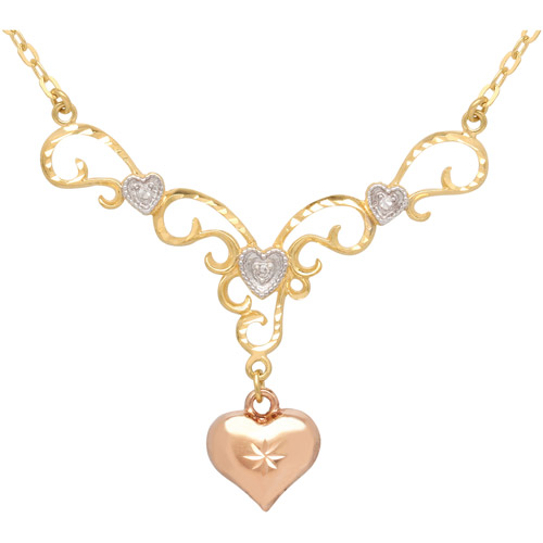 Diamond-Accent 18kt Gold over Sterling Silver Heart Pendant, 18""