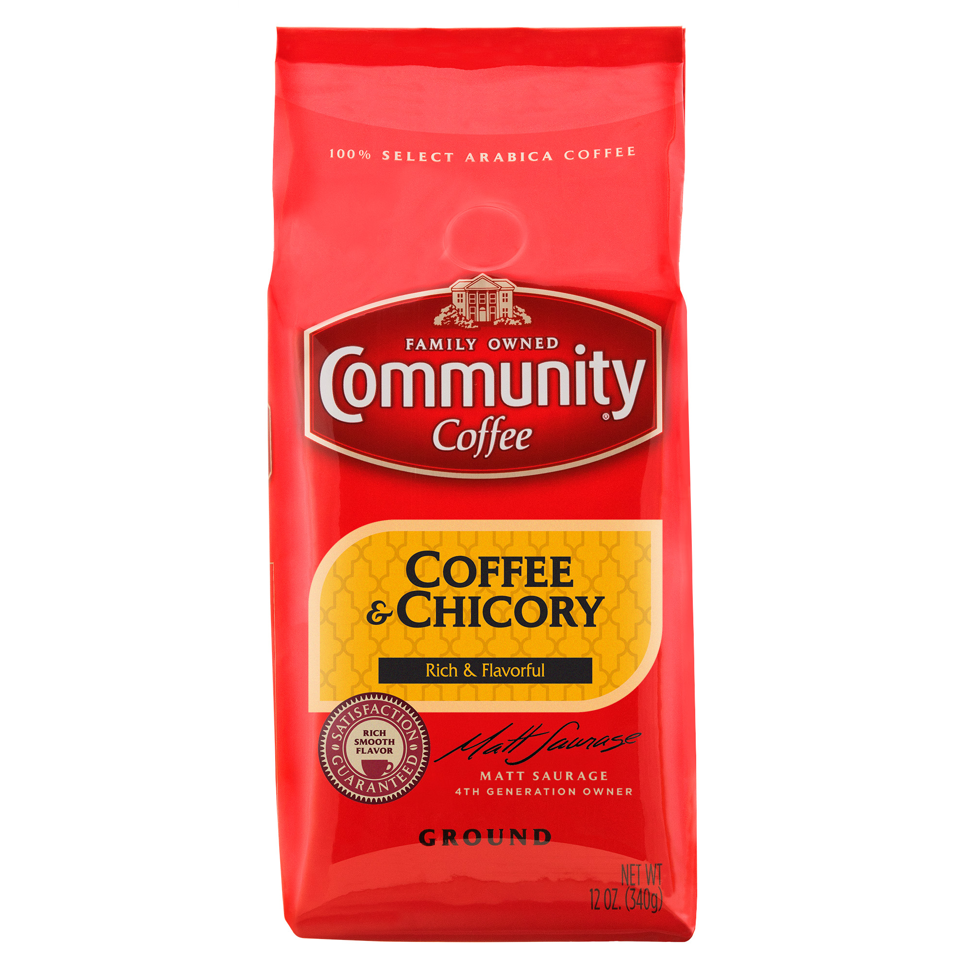 Community Coffee Premium Ground Coffee and Chicory Medium-Dark Roast Coffee, 12 Ounce