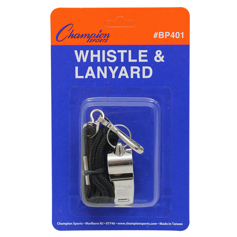 Champion Sports Metal Whistle with Lanyard, Silver
