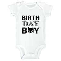 """Funny Boys Birthday Onesie """"Birthday Boy"""" Batman Bodysuit - Toddler Shirt 0-Newborn, White"""