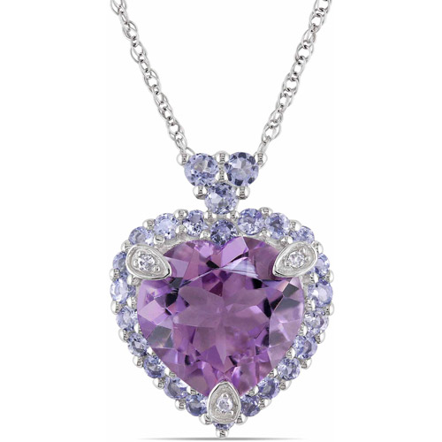Tangelo 3-4/5 Carat T.G.W. Amethyst and Tanzanite with Diamond Accent 10kt White Gold Halo Heart Pendant, 17