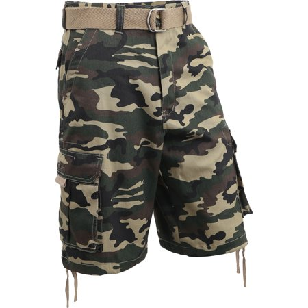 Mens Twill Cargo Shorts with Belt Loose Fit Multi Pocket Cotton Camouflage Outdoor Utility