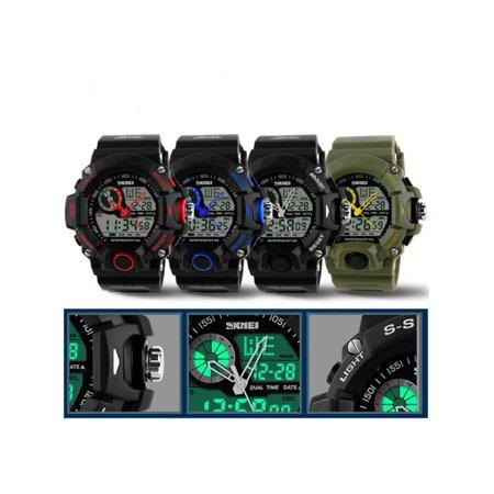 Multi-function Mens LED Digital Alarm Waterproof Rubber Sports Army Military Wrist Watch Men's S-SHOCK Date ()