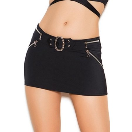 Black Queen Black Zipper Mini Skirt Elegant Moments 2476X Black