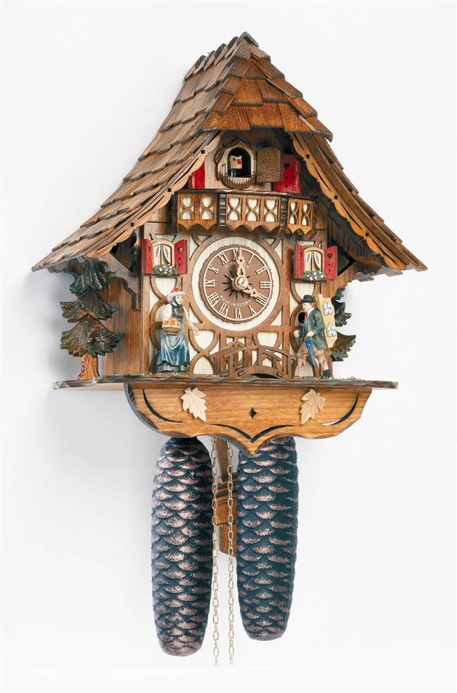 8-Day Black Forest House Cuckoo Clock w Peddler Arm by Schneider Cuckoo Clocks