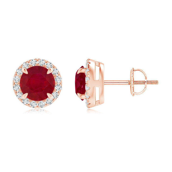 Angara Claw-Set Ruby and Diamond Halo Stud Earrings UhqWSJf