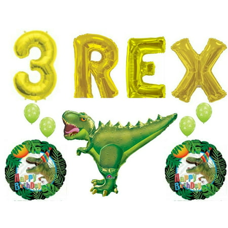 Three 3 Rex Happy Birthday Dinosaur Party Balloons Decorations Supplies](Dinosaur Themed Birthday Party Supplies)