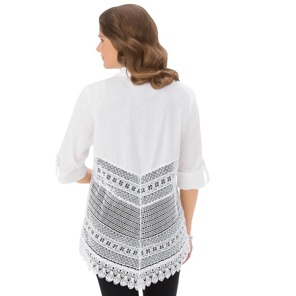 Women's Crochet Back Button Down Tunic Misses White X-lar...