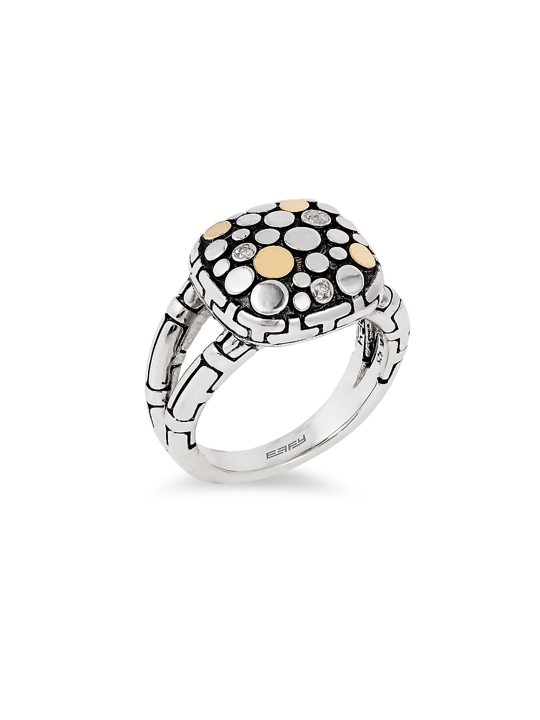 Diamond and 18K Gold-Plated Sterling Silver Ring