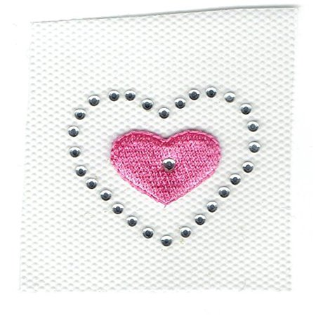 Pink Heart with Clear Rhinestones - Iron On Embroidered Applique Patch Transfer - Embroidered Heart
