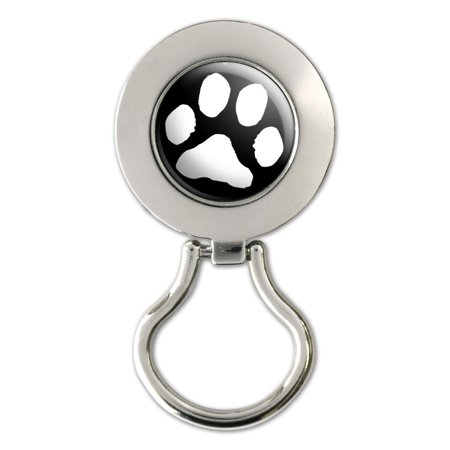 Paw Print White On Black Magnetic Metal Eyeglass Badge Holder