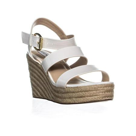 Patent Espadrille (Womens Steve Madden Valery Platform Wedge Sandals, White Patent )