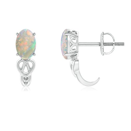 Mother's Day Jewelry Sale - Solitaire Oval Opal Celtic Knot J-Hoop Earrings in 14K White Gold (6x4mm Opal) - SE1352OP-WG-AAAA-6x4 4in 14k White Gold Hoop