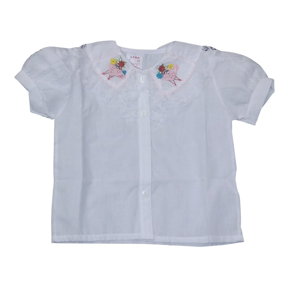 Lyra Lyra Little Girls White Lace Colored Embroidery Short Sleeve