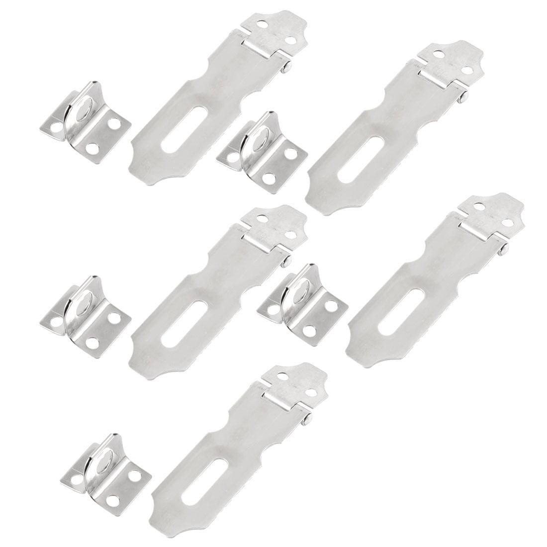 "Unique Bargains 5 Set Silver Tone Metal Hasp Staple Lock Set 2.8"" Long for Cupboard Cabinet"