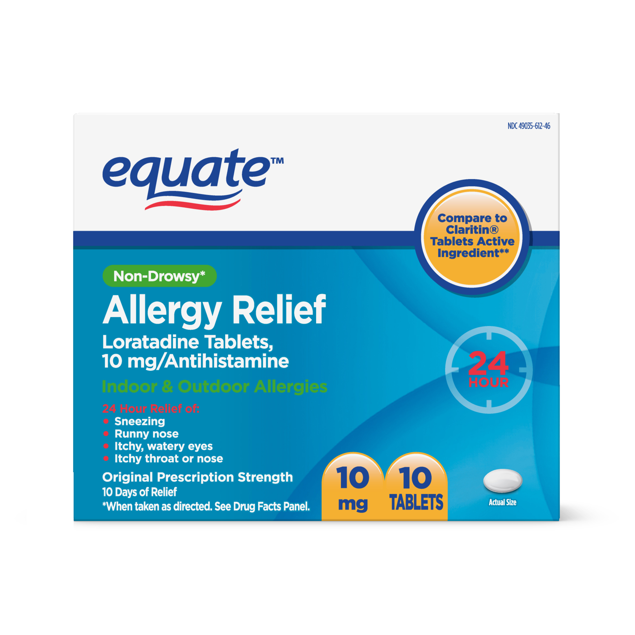 Equate Non-Drowsy Allergy Relief Tablets, 10 Ct