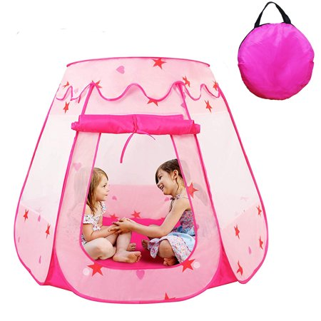 Top Knobs Ball Pit Princess Castle Play Tents for Girls w/ Glow in The Dark Stars - Pop Up Children Play Tent for Indoor & Outdoor Use Beautiful Playland Playhouse Tent w/ Zipper Storage Case