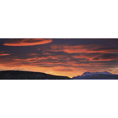 Red Lenticular Clouds Over Teslin Lake And Dawson Peaks At Sunrise Teslin Yukon Canvas Art   Robert Postma  Design Pics  44 X 15