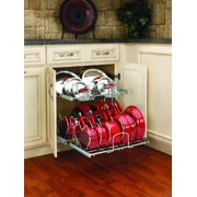 """Rev-A-Shelf 21"""" Pullout 2 Tier Cookware Organizer for Sink Base Cabinet, Chrome"""