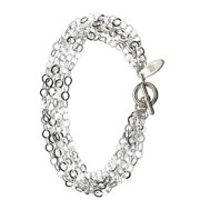 Multi-Strand Flat Round Sterling Silver Chain Toggle Bracelet Italy 7.5 Inch