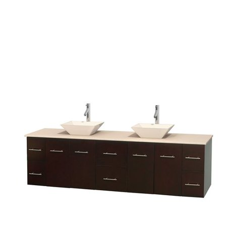 Wyndham Collection Centra 80 inch Double Bathroom Vanity in Espresso, White Carrera Marble Countertop, Pyra Bone Porcelain Sinks, and No Mirror ()