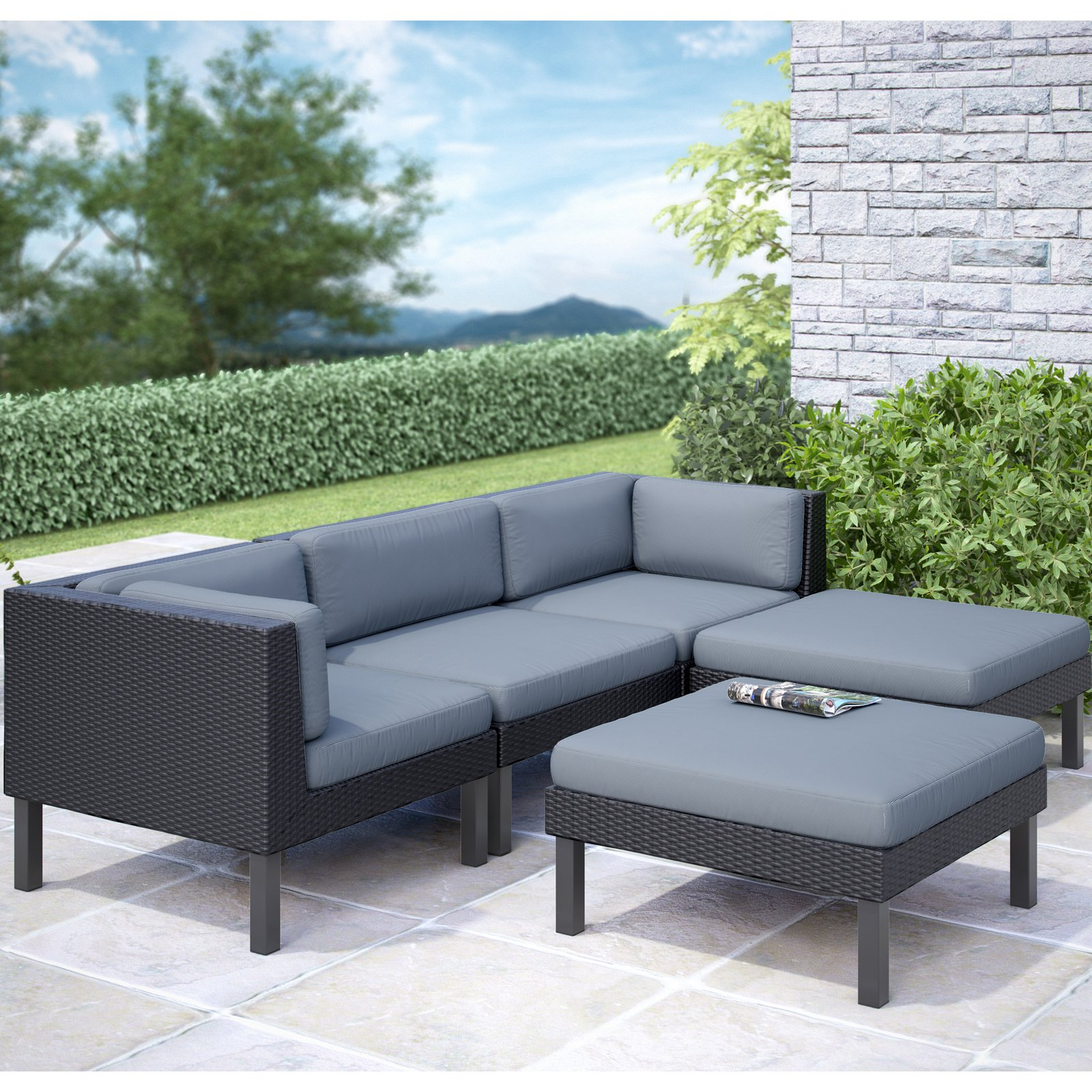 CorLiving Oakland 5pc Sofa with Chaise Lounge Patio Set, Dove Grey Cushions
