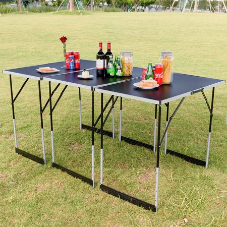 Gymax 3pcs Folding Outdoor Camping Picnic Table Set Height Adjule Indoor