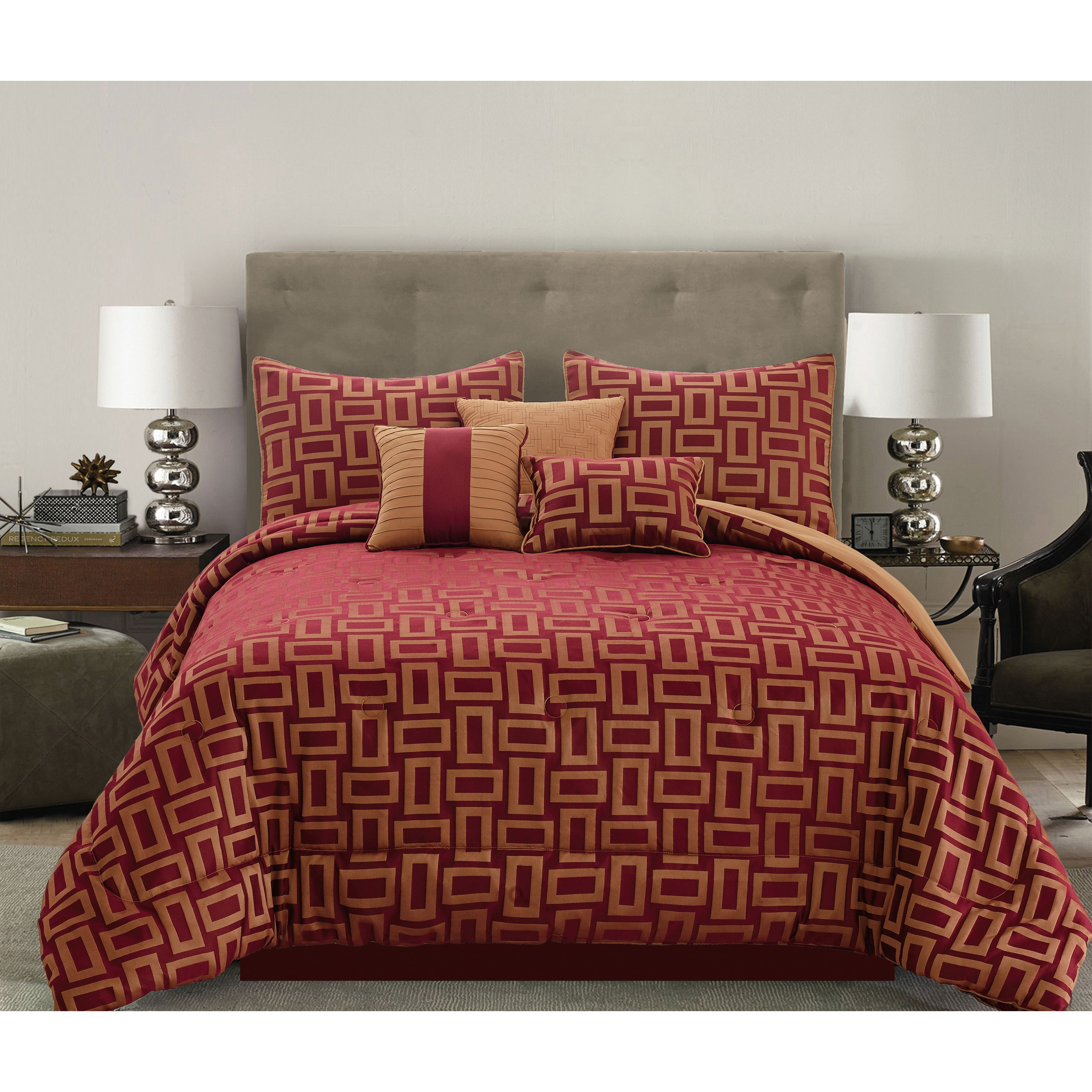 Mainstays 7-Piece Geo Red/Gold Comforter Set