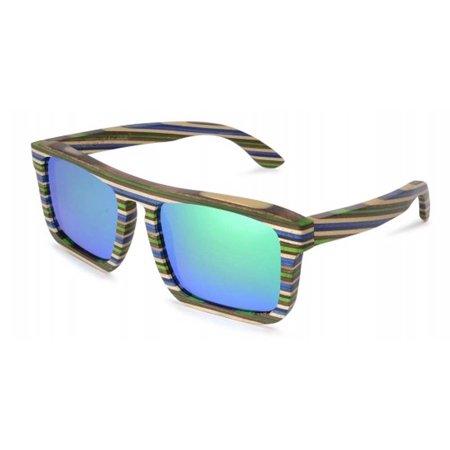 Specs of Wood Eyewear Square Dance Sun Blue/Green Polarized Green Sunglasses
