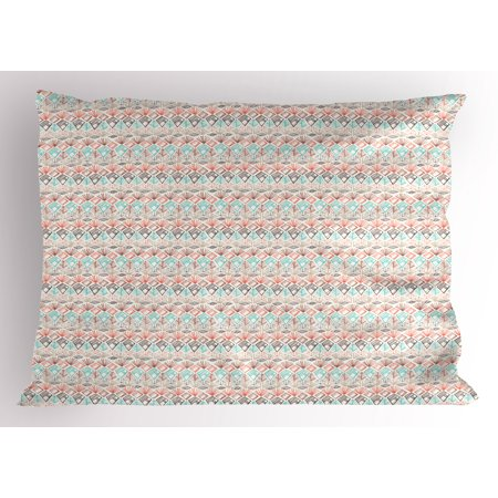 Boho Pillow Sham Ethnic and Pastel Colored Geometrical Shapes Tribal Art Print Peruvian Folkloric Retro, Decorative Standard Size Printed Pillowcase, 26 X 20 Inches, Multicolor, by Ambesonne