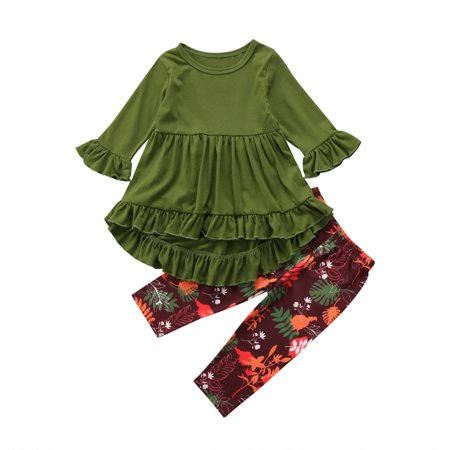 Flare Set - Toddler Little Girls Hi Lo Ruffle Flare Tunic Dress Top Floral Leggings Pants Outfit Set