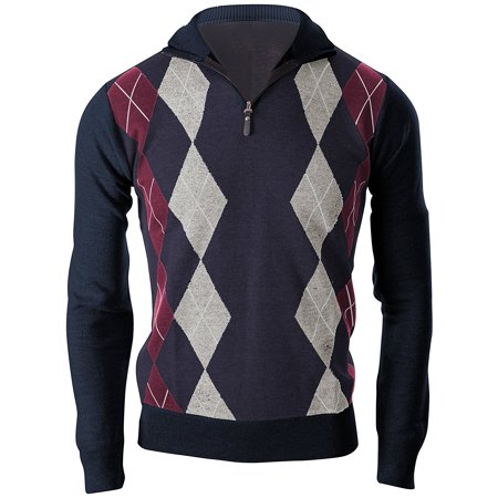 Enimay Mens Argyle Zip Up Golf Long Sleeve Zipper Sweater Vintage Navy Size S