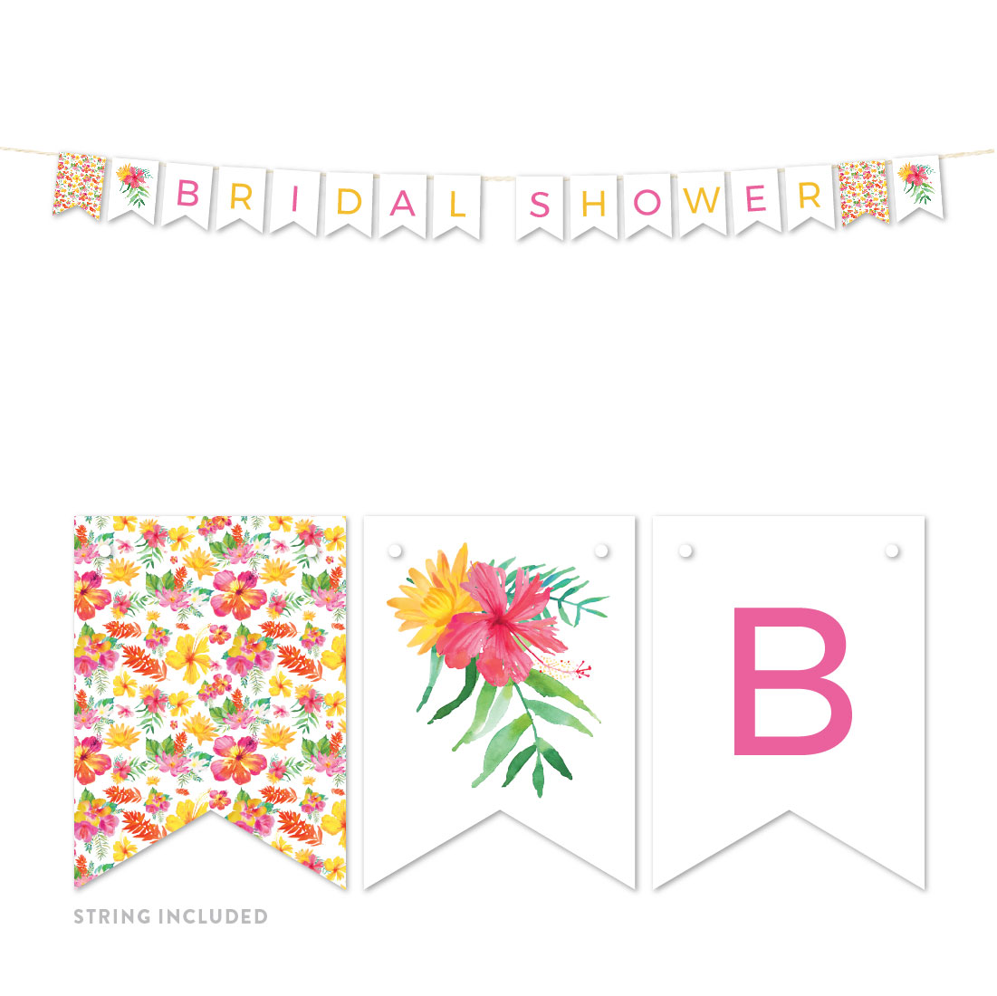 Tropical Floral Garden Party Wedding, Hanging Pennant Party Banner with String, Bridal Shower