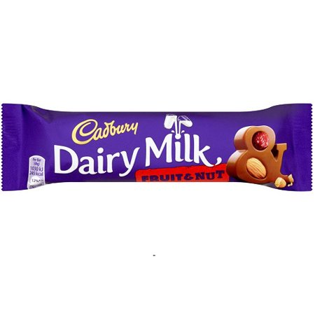 Cadbury Fruit & Nut Chocolate Bar 49g England (Case of 48) - Chocolate Covered Fruit For Halloween