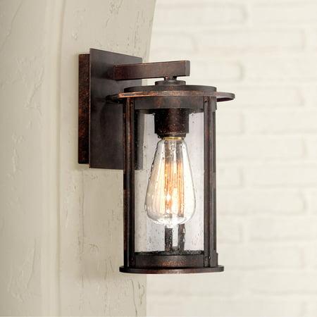 Franklin Iron Works Vintage Industrial Outdoor Wall Light Fixture Bronze Lantern 10 1/2