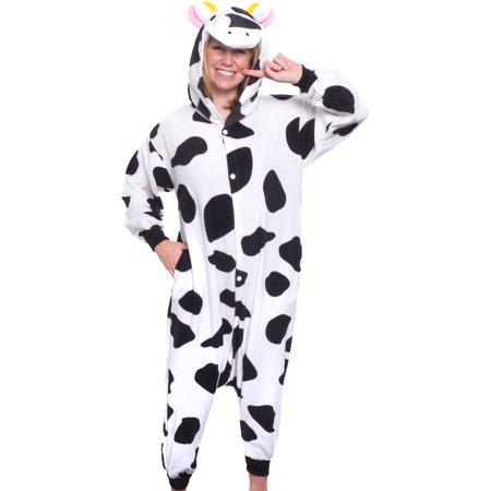 silver lilly unisex adult plush animal cosplay costume pajamas cow walmartcom