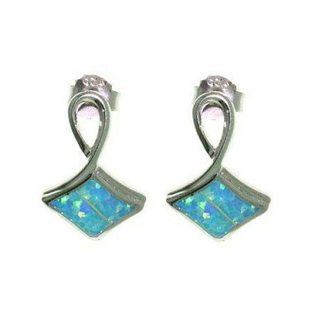 Jewelry Trends Sterling Silver Fancy Lab Created Opal Earrings