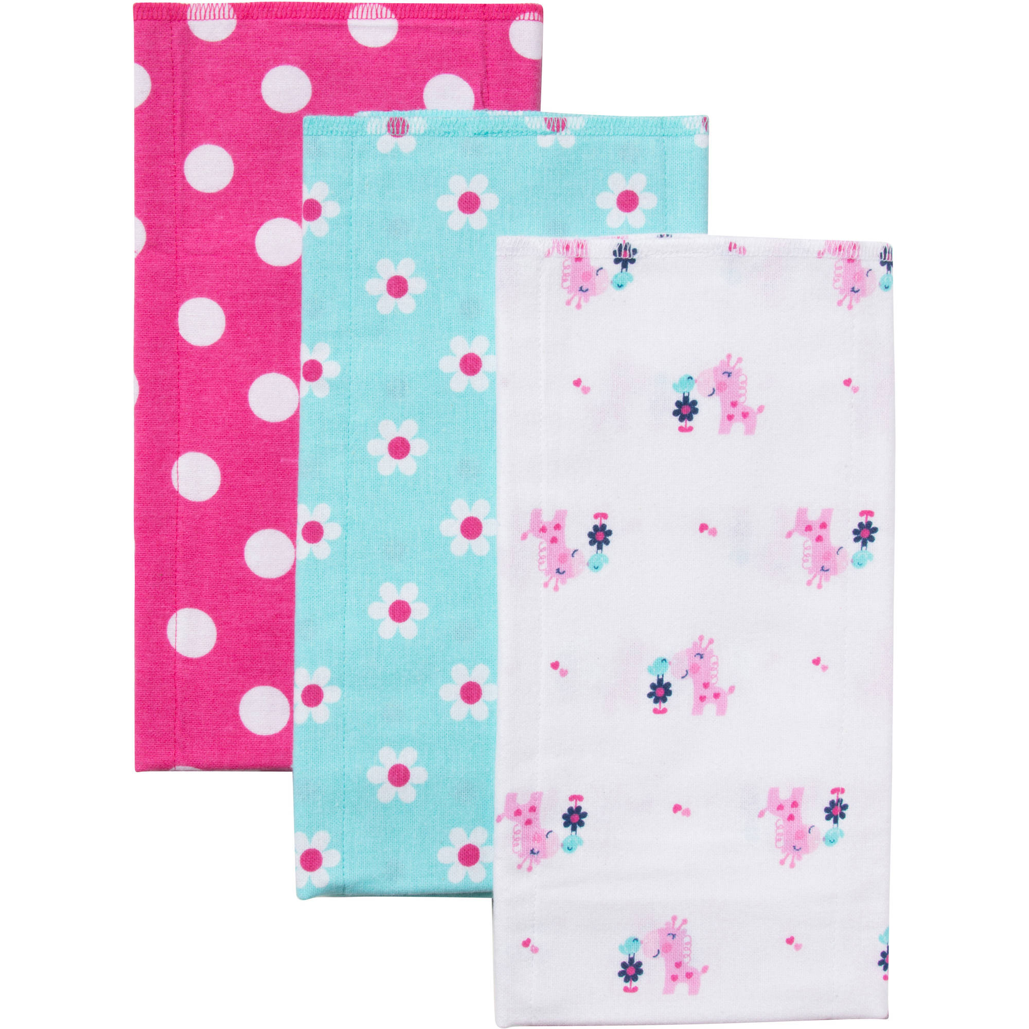 Gerber Flannel Burpcloths, Girl, 3-Pack