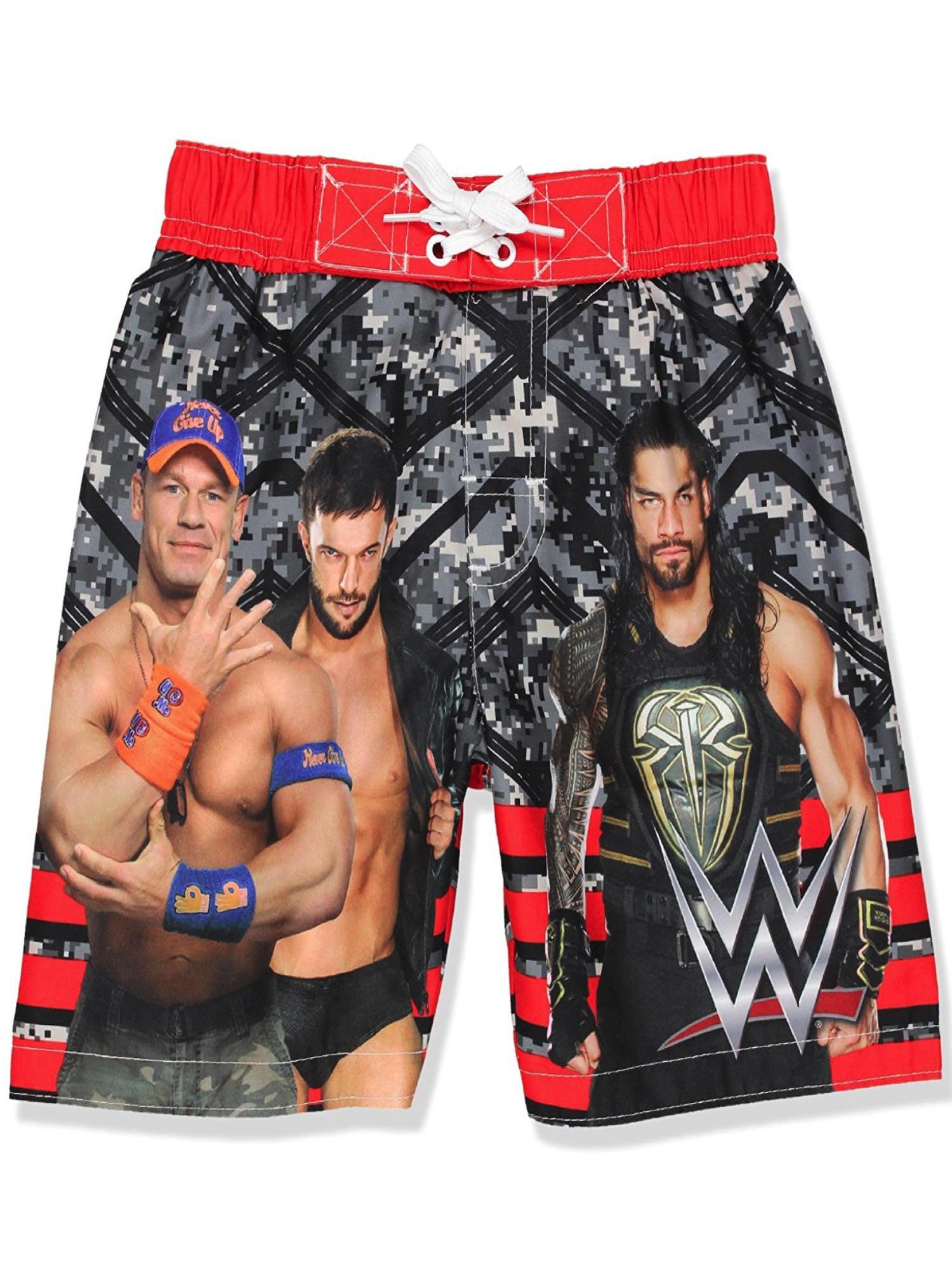WWE Little and Big Boys Swim Trunks Swimwear, Black/Red