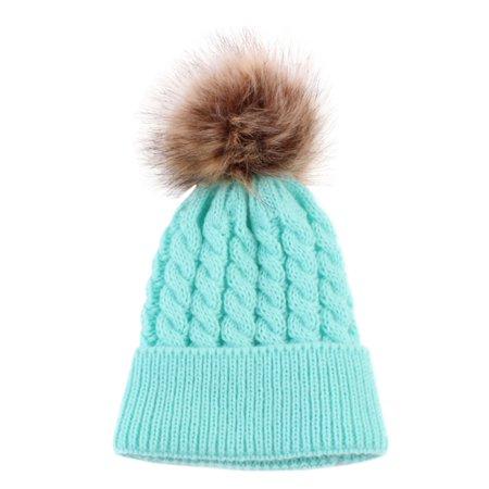 f81690fbe Winter Baby Girls Boys Warm Knitted Pom Bobble Beanie Hat Kids Cotton Cap
