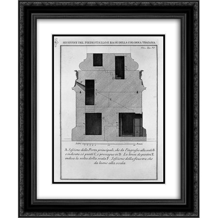 Giovanni Battista Piranesi 2x Matted 20x24 Black Ornate Framed Art Print 'Section as above, the main door and window' ()