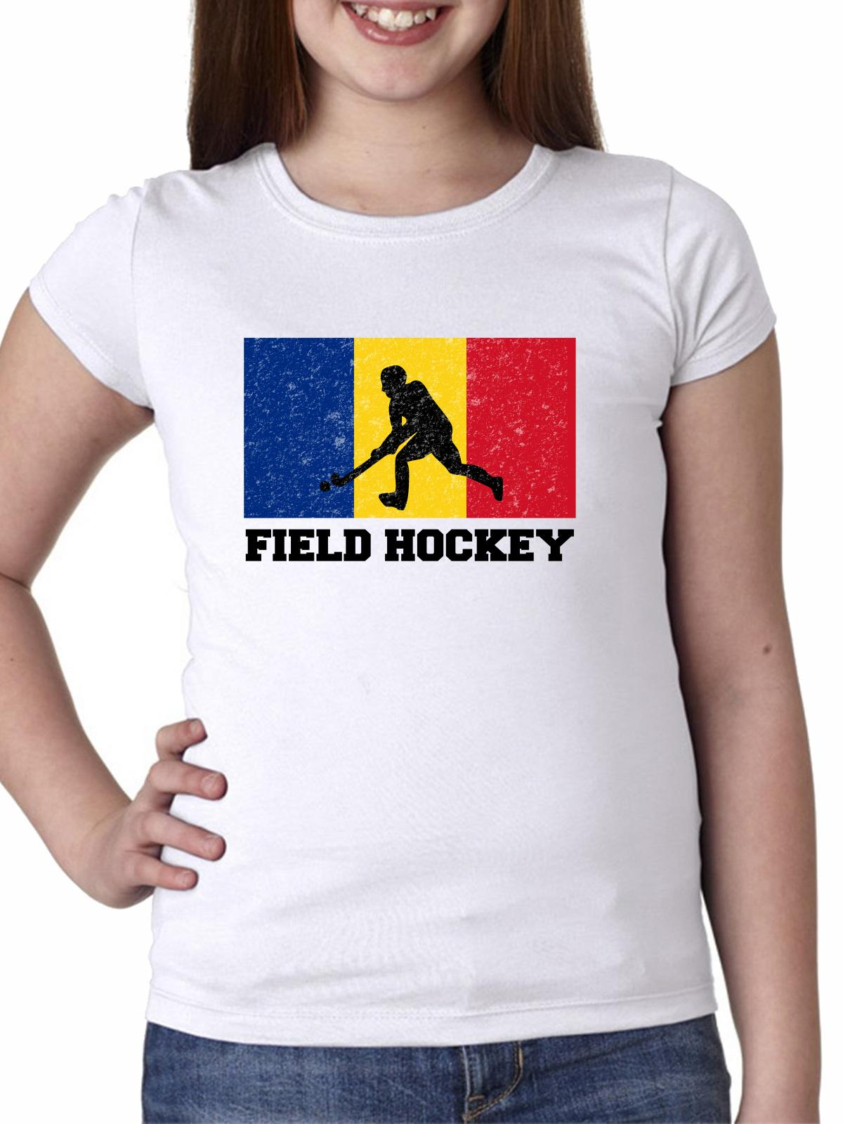 Romania Olympic Field Hockey Flag Silhouette Girl's Cotton Youth T-Shirt by Hollywood Thread