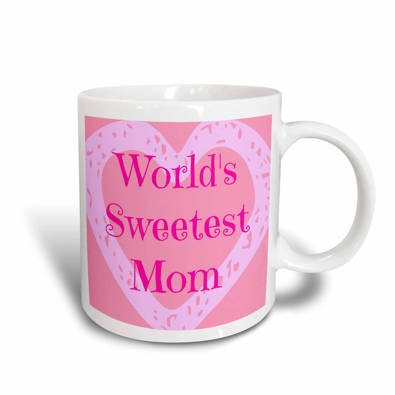 3dRose Worlds sweetest mom, pink, big heart, red, Ceramic Mug, 15 - ounce