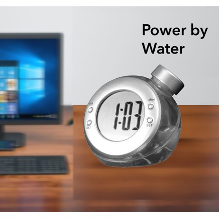 Bulls Desk Clock - Science based Run by Water not battery. Hydro Clock for Kids, office desk, Add water as the source of electric power to turn on the clock. Product Size: 3.54x3.94x3.54