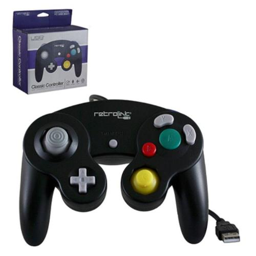 2-Pack Wired Nintendo GameCube Style USB Controller For PC And Mac Black
